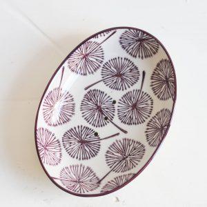 porte savon ovale au motif de pissenlit en céramique