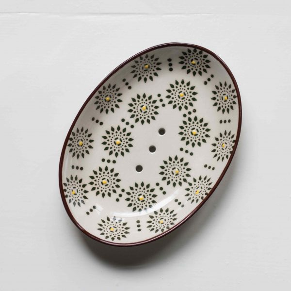 """porte savon ovale en céramique à motif """"fleur brune"""""""