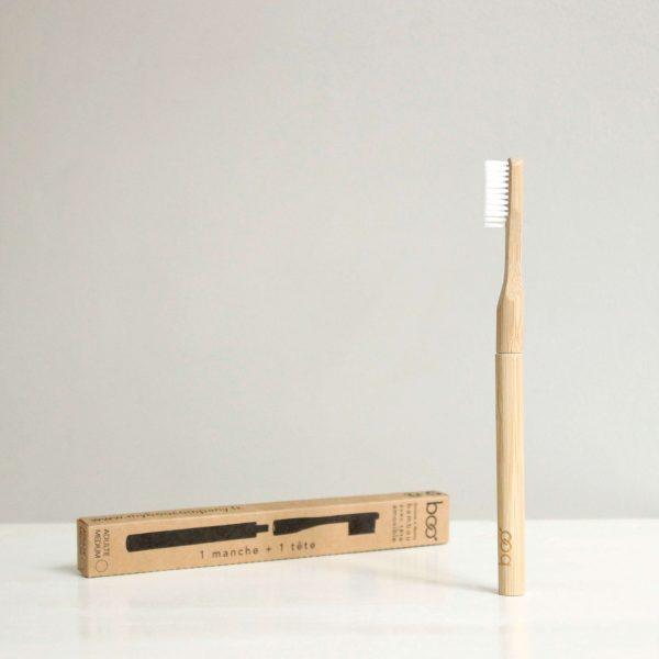 Brosse à dents médium tête interchangeable en bambou