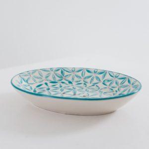 porte savon ovale à motif mosaïque vue de profil