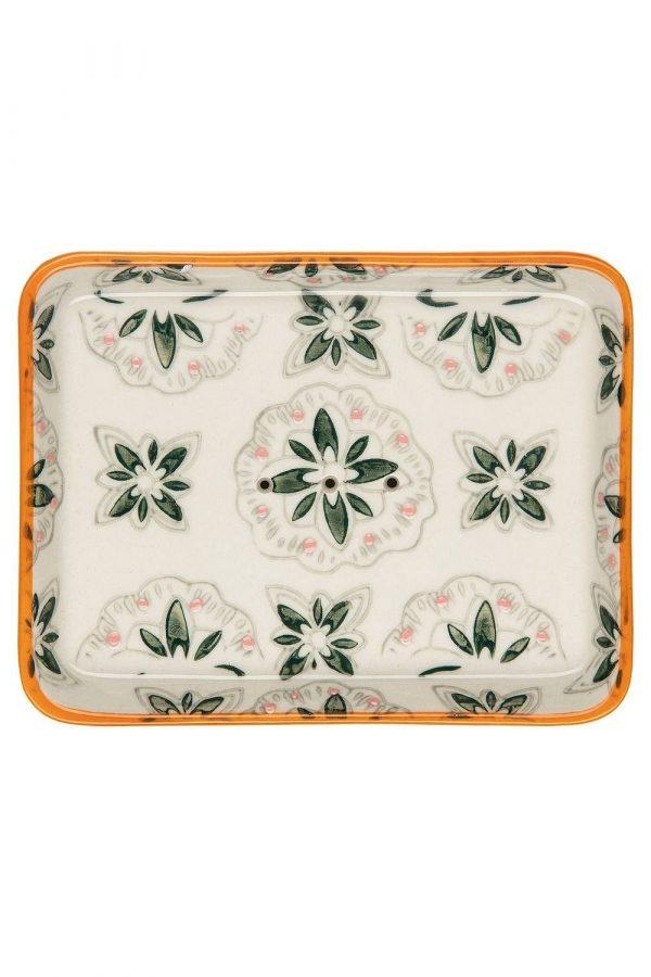 Porte savon vintage fleurs vertes
